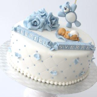 Søt dåpskake i dus blå!